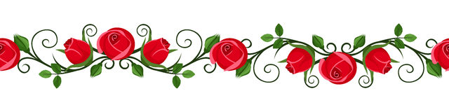 Vintage horizontal seamless vignette with red rose Royalty Free Stock Photography