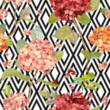 Vintage Hortensia Flowers - Floral Geometric Background Stock Image