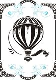 Vintage hot air balloon. Steampunk style frame and vintage hot air balloon stock illustration