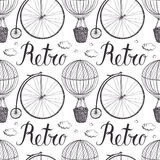 Vintage hot air balloon and bicycle pattern. Hand drawing Royalty Free Stock Photography