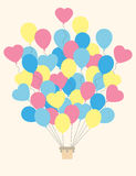 Vintage hot air balloon.Celebration festive background with ball Royalty Free Stock Image