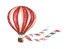 Vintage hot air balloon with flags garlands, polka dot pattern and retro design. Watercolor illustration. For design, print and background Royalty Free Stock Photo