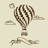 Air balloon image. Vintage hot air balloon image with clouds Stock Photography