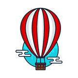 Vintage hot air balloon.Vector modern. Line outline flat style cartoon illustration icon. Isolated on white background. Travel, hot air balloon adventure Stock Image