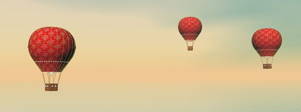 Vintage hot air balloons - 3D render Royalty Free Stock Photography