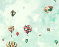 Vintage Hot Air Balloons in flight Royalty Free Stock Photography