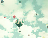 Vintage Hot Air Balloons in flight Royalty Free Stock Images