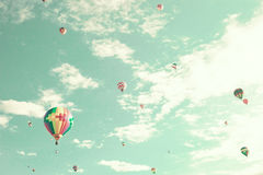 Vintage Hot Air Balloons in flight Stock Photo