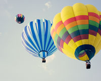 Vintage Hot Air Balloons in flight Royalty Free Stock Photo