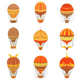 Vintage Hot Air Balloons Set. Detailed Vector Drawings In Orange An Red Colors. Old-school Air Travel Transportation Design Collection Royalty Free Stock Photo