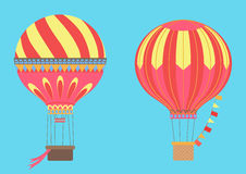 Vintage Hot Air Balloons in sky. Vector illustration. Stock Image