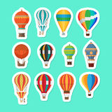 Vintage hot air balloons stickers set Royalty Free Stock Image