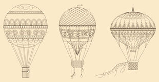Vintage Hot Air Balloons Vector illustration. Thin line baloon collection. Vintage Hot Air Balloons Vector illustration. Thin line baloon collection Royalty Free Stock Photo