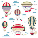 Vintage hot air balloons vector set for festival cards. Set of air balloons, vintage color air balloon for adventure illustration Stock Photos