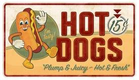 Vintage Hot Dog Tin Sign Advertisement Retro. Metal old antique rustic 15 cent diner doggy tasty fresh cartoon vector illustration
