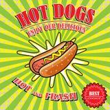 Vintage Hot Dogs, retro pop art stile Royalty Free Stock Photography