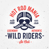 Vintage hot rod bike inspired apparel fashion print design Stock Photos