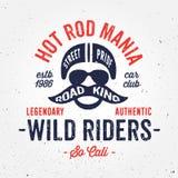 Vintage hot rod bike inspired apparel fashion print design. Vintage hot rod bike inspired apparel fashion design, textured graphic tee, old school print stock illustration