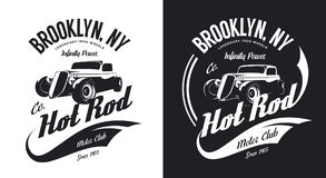 Vintage hot rod black and white tee-shirt isolated vector logo. Royalty Free Stock Photography