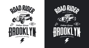 Vintage hot rod black and white tee-shirt isolated vector logo. Stock Photos