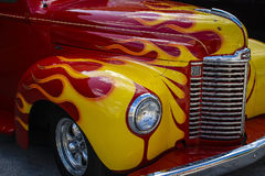 Vintage Hot Rod Car. Vintage Panel Truck Hot Rod with Flames royalty free stock image