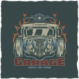Vintage hot rod t-shirt label design with illustration of custom speed car. Royalty Free Stock Images