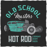 Vintage hot rod t-shirt label design with illustration of custom speed car. Hand drawn illustration Royalty Free Stock Photos