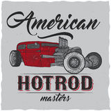 Vintage hot rod t-shirt label design with illustration of custom speed car. Hand drawn illustration Royalty Free Stock Photography