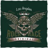 Vintage hot rod t-shirt label design with illustration of driver skull with glasses and wings. Stock Photos