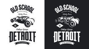 Vintage hot rod vehicle black and white isolated vector logo. Royalty Free Stock Photography