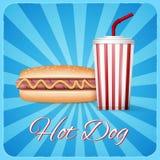 Vintage hotdog poster design Royalty Free Stock Photos