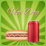 Vintage hotdog poster design Stock Photo