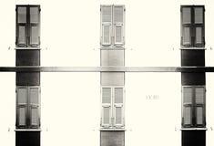 Vintage hotel, black and white image. Stock Photos