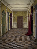 Vintage hotel hallway. Vintage abandoned hotel hallway with curtains, wallpaper and closed doors stock illustration