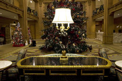 Vintage hotel lobby lamp lighting table christmas tree light Stock Photography