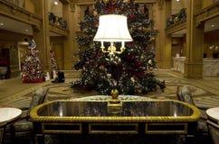 Vintage hotel lobby lamp lighting table christmas tree light Stock Photography