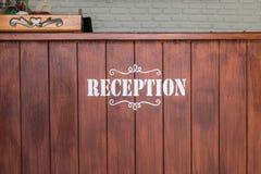 Vintage hotel reception desk stock image