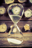 Vintage hourglass as the old way of timing. Closeup of vintage hourglass as the old way of timing stock image