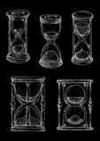 Vintage hourglasses chalk sketches set Stock Photography