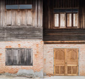 Vintage house of Brick wall and wooden wall Royalty Free Stock Photography