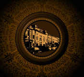 Vintage House In Floral Frame Royalty Free Stock Images