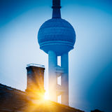 Vintage house with part of oriental pearl tower in background Royalty Free Stock Photo