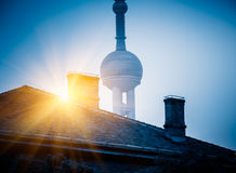 Vintage house with part of oriental pearl tower in background Royalty Free Stock Photography