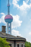 Vintage house with part of oriental pearl tower in background Stock Photo