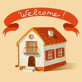 Vintage house with a ribbon and signature welcome Stock Photo