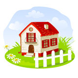 Vintage house on a summer lawn Stock Photo