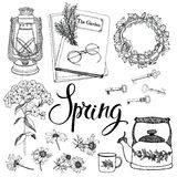 Vintage household objects and flowers, spring theme. Hand drawin Stock Photo