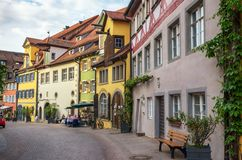 Typical street in Meersburg, Constance lake Royalty Free Stock Images