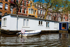 Vintage Houses on Canals, Amsterdam Royalty Free Stock Photography