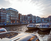 Vintage Houses on Canals, Amsterdam stock image